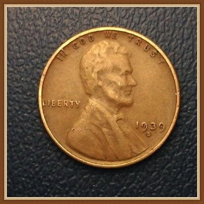 1939 S Lincoln Wheat Cent, 1 (One) Coin, Nice F to EF Grades (Stock Photo)