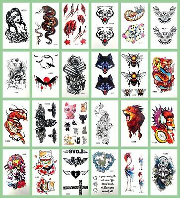 US SELLER-20 SHEETS rub on tattoos for adults rose gun wolf ...
