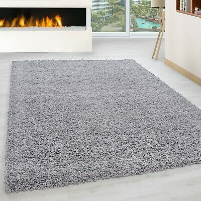 63 Black Non Shed Polyproylene Thick 50mm Pile Soft Plain Modern Shaggy Rugs