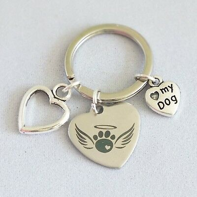 Pet memorial angel wings, dog, cat key ring alloy charms