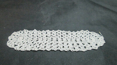 "Dollhouse Miniature Crochet Table  Runner Doily #R2W - 5/8"" by 2 1/2"" White"