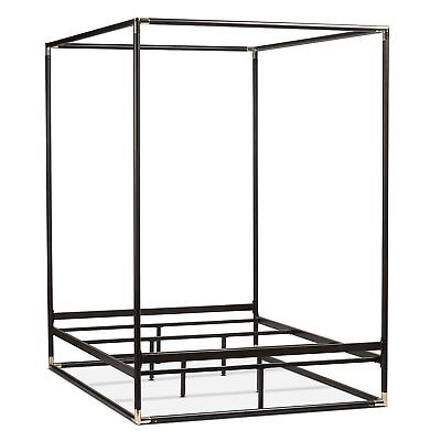 Queen Size Industrial Style Black Metal Canopy Bed Frame 541 00
