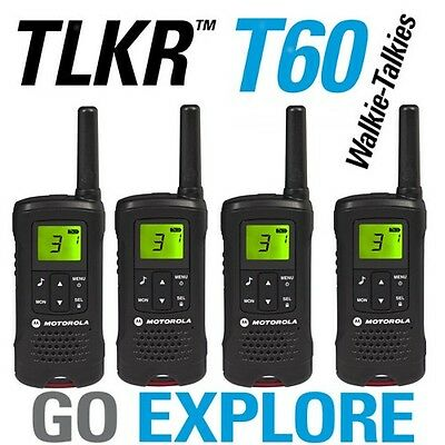 New Motorola Talker TLKR T60 Quad 2 Way Walkie Talkie PMR 446 Radio 4 Pack