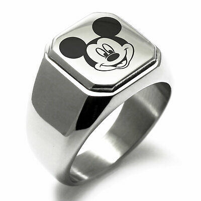 Stainless Steel Mickey Mouse Mens Square Biker Style Signet Ring