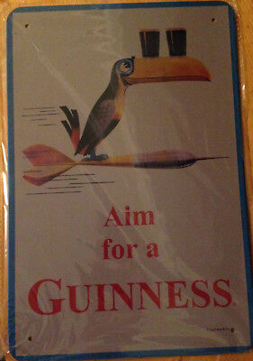 "New TIN SIGN ""Aim for a Guinness"" Collectible Wall Art Bar PUB Man Cave"