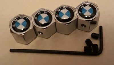 BMW Logo silver alloy wheel tyre Valve dust Caps set of 4 lockable anti theft