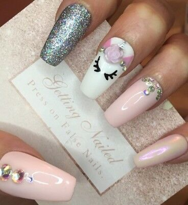 Hand painted Set Of 20 Unicorn Full Cover False Nails, Long Coffin/ballerina,gel