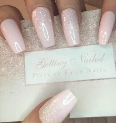 Hand Painted Set Of 20 Hand Pink And Holographic Pink Glitter False Nails
