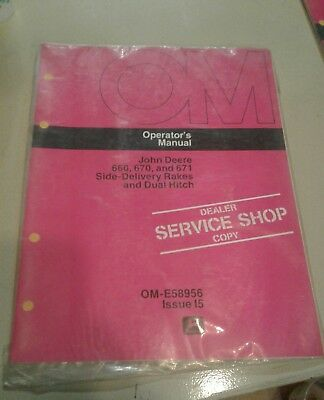 John Deere 660 670 671 side delivery rakes dual hitch operator manual OM-E58956