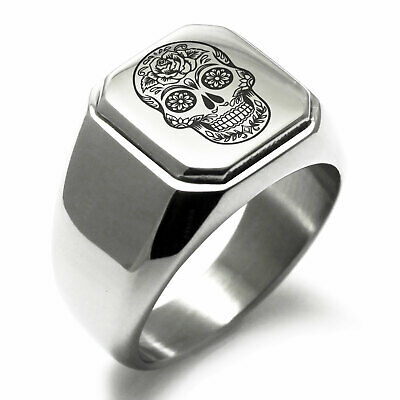 Mens Sugar Skull Stainless Steel Ring Sizes  9 10 11 Day of the Dead      DD003