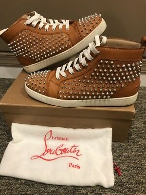 innovative design 1cd45 f2d68 CHRISTIAN LOUBOUTINS MENS Flat Calf Spike Sneakers Noisette Size 11  (PHL033127)
