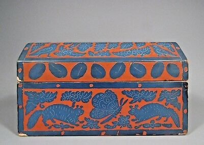 RARE Mexico Mexican Lacquer Fruit, Flower & Bird Motif Wood Box ca. 19th c.