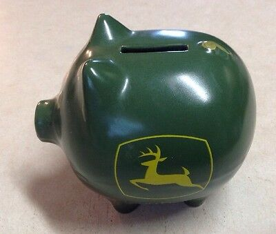 John Deere Ceramic Green/Yellow Pig Piggy Bank Licensed Product NO Stopper