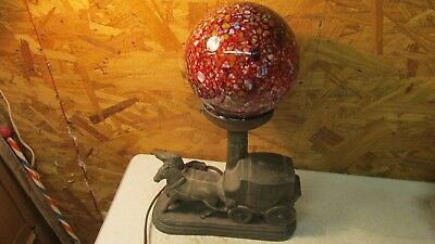 Antique Metal Carriage Table Lamp & End of the Day Globe