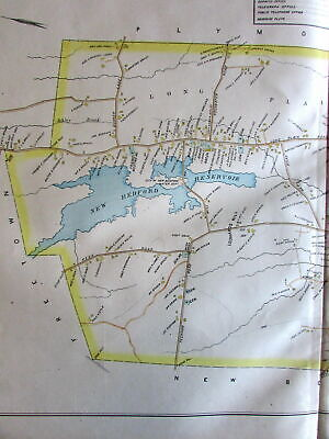 Acushnet Bedford Reservoir scarce huge 1895 Bristol Co. Mass. detailed old map