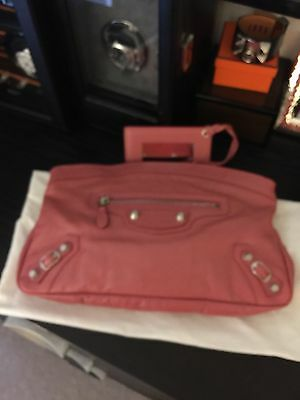 5a2b5658833 Authentic Balenciaga Giant 12 Arena Clutch In Pink with Silver Hardware