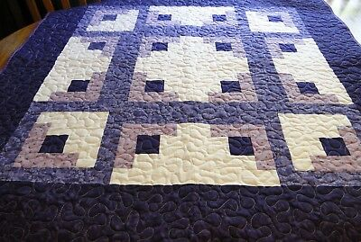 "Handmade Purple Quilt, Machine Quilted, 41 1/2"" x 41 1/2"" Child,Youth,Blanket"