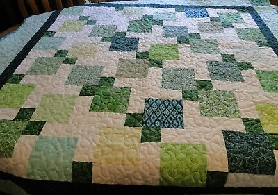 "Handmade Green Quilt, Machine Quilted, 48"" x 49"" Child, Youth, Toddler,  Blanket"