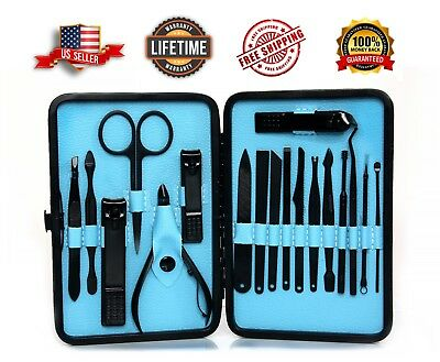 18 Piece Pedicure Manicure Set Nail Clippers Facial Cleaner Cuticle Grooming Kit
