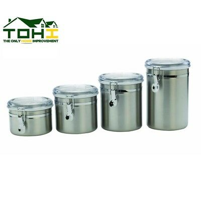 CLEAR LID CANISTER Set 4 Piece Stainless Steel Kitchen ...