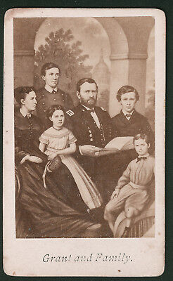 Antique CDV Photo General Ulysses S Grant Family President Circa