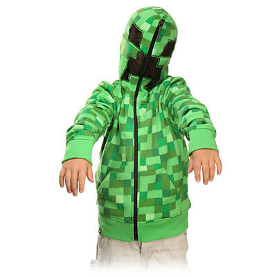 Official Licensed Minecraft Big Boys' Creeper Monster Premium Zip-up Hoodie New