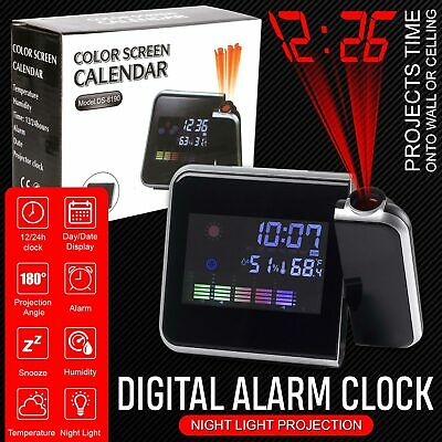 LED Projection Clock Time 3.7? LCD Display Thermometer Whether Alarm Calendar