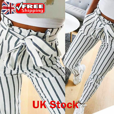 Striped Skinny Pants Tie High Waist Ladies Trouser Women Long Jeans UK SIZE 6-14