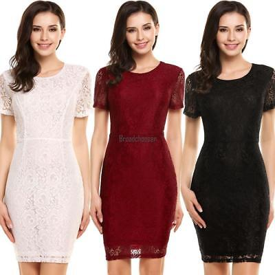 Women Casual Short Sleeve Lace Patchwork O Neck Slim Hollow Out Pencil BRCE