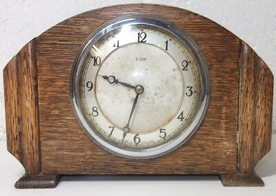 """Small 7.5"""" Wide Smiths 8 Day Wooden Art Deco Mantel/Travelling Clock"""