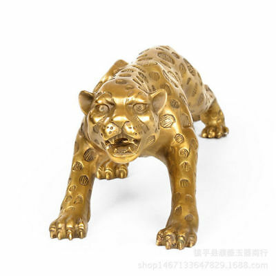 11 inches Art Deco pure brass copper statue lucky panther leopard