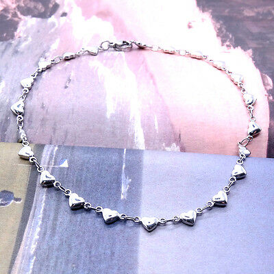 Charm Ankle Bracelet Stainless Steel Anklets Love Heart 10 Inch SSA006-10