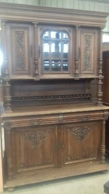 Beautiful 19Thc French Antique Huge 3 Piece Carved Buffet Sideboard With 4 Keys