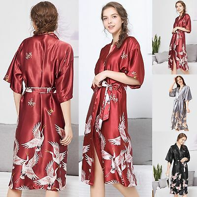Women's Silk Satin Robe Long Crane Floral Sleepwear Kimono Pajamas Nightgown Pj