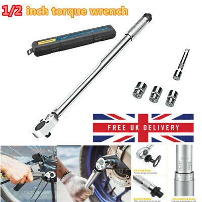 "Adjustable Ratcheting Torque Wrench 1/2"" Socket Square Drive w/Extension Sockets"