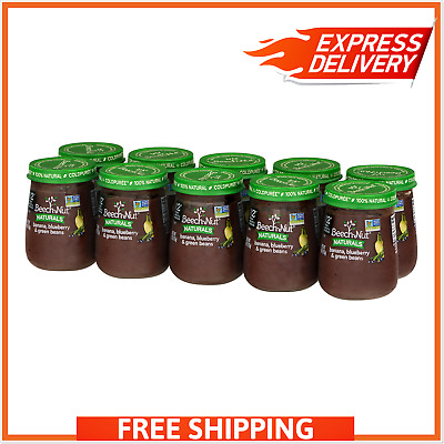 10 PC Beech-Nut Naturals Banana, Blueberry & Green Beans Stage 2 - NON GMO 100%!