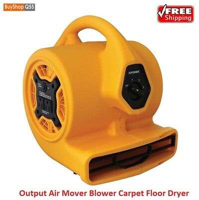 1/5 HP Floor Dryer 3 Speed High Output Air Mover Blower Carpet Professional Fan