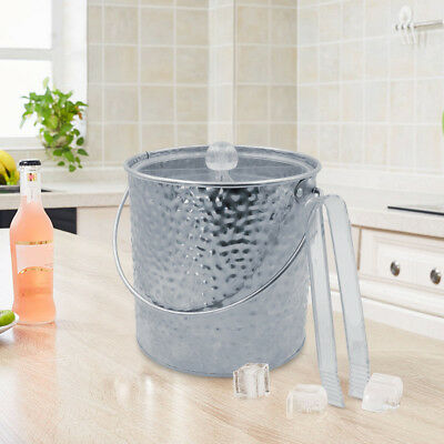 Finether Silver 3L Ice Bucket Wine Chiller Insulated DBL Iron Wall with Lid Tong