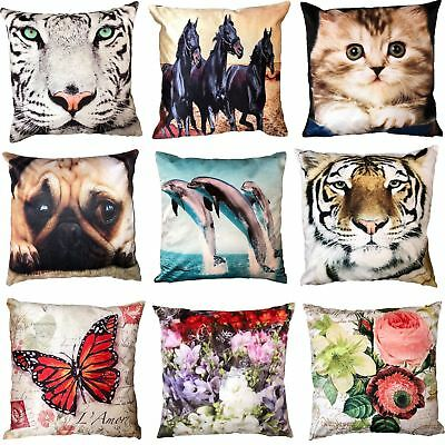 "Animal and Floral Printed Velvet Feel Cushion Cover 18x18"" or 45x45cm"
