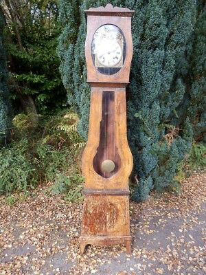 Clock French, long case, pine, antique