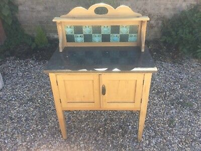 Antique Victorian Pine Washstand With Cupboard