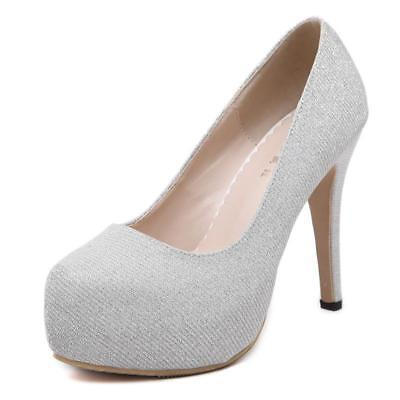 fdc9e42a36 Womens High Heel Platform Office Shoes Bridal Wedding Prom Party Shoes Size  1185