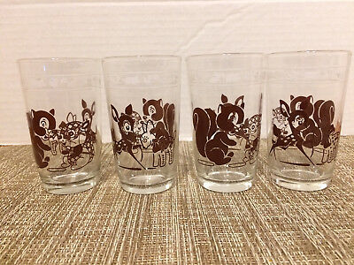 Set of 4 Vintage Swanky Swig Kraft Juice Glasses Baby Animal Print Chipmunk Deer