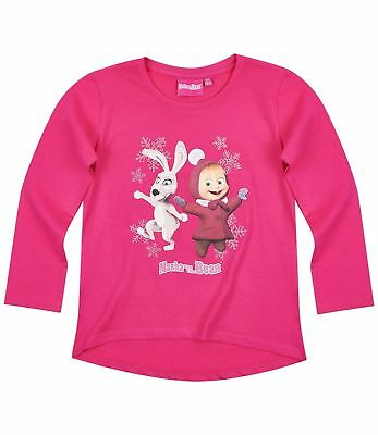 Girls Kids Official Masha & The Bear Pink Long Sleeve T Tee Shirt Top