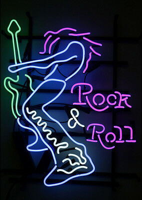 "24""X20""New Rock'N'Roll Neon Sign Light Beer Bar Pub Wall Poster Rock Club Decor"