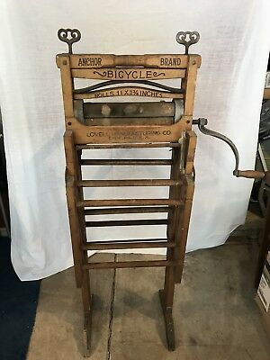 Antique Early American Washer Anchor Brand Folding Bench Wringer Bicycle