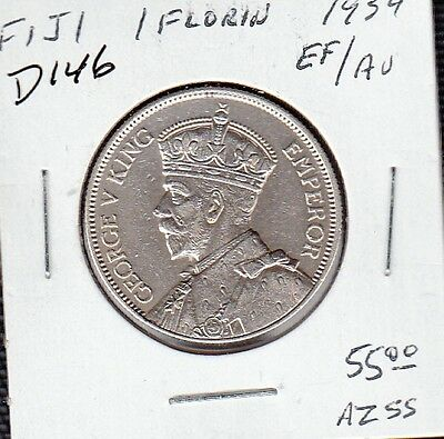D146 Fiji 1 Florin (2 Shillings) Coin 1934 Silver Ef/au - Buy It Now