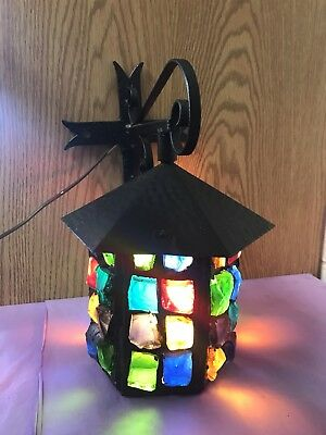 Multicolor Glass Chunk Hanging Porch Light with  Iron Wall Mount-Great Britain