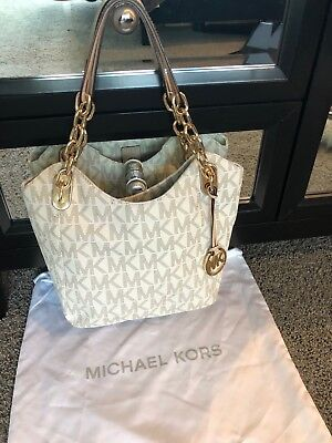 84ba7f331259 Michael Kors Purse Vanilla White/Brown Monogram Shoulder bag Gold Chain  accents