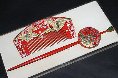 Vintage JAPANESE ANTIQUE Hair Comb Set 1900s KUSHI KANZASHI KIMONO JAPAN a356